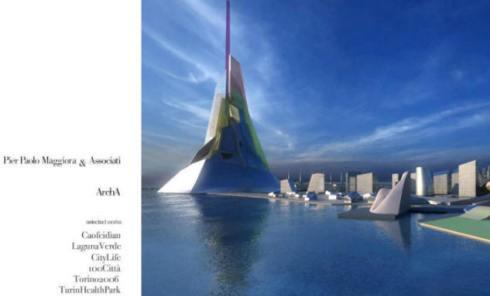 """Home page del sito web di Pier Paolo Maggiora. Nella foto la """"Montagna dell'energia"""", alta circa un chilometro, simbolo della città avveniristica di Caofeidian."""